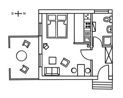 Grundriss des Appartements mare